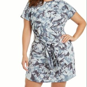Ideology blue camouflage tie front tee shirt dress